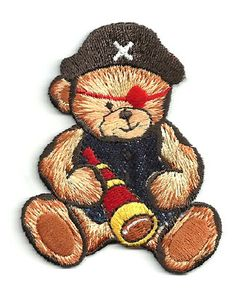 PIRATE BEAR EMBROIDERED IRON ON APPLIQUE
