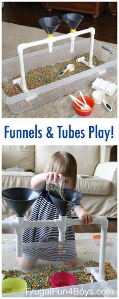 Sensory Play with Funnels, Tubes, and Colored Beans - Great for fine motor skill development. Preschoolers will love this fun sensory play station! by jewellInformations About Sensory Play with Funnels, Tubes, and Colored Beans PinYou can easily use Infant Activities, Preschool Activities, Children Activities, Water Play Activities, Preschool Learning, Reggio Emilia Preschool, Preschool Tables, Toddler Fine Motor Activities, Reggio Emilia Classroom