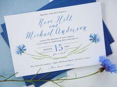 Cornflower Blue Calligraphy Wedding Invitation - Printable, DIY by VilteGrafika on Etsy https://www.etsy.com/listing/239747982/cornflower-blue-calligraphy-wedding