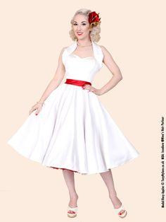 1950s Halterneck White Duchess Dress