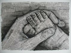 black and white drawing, baby foot in hand, newsprint, charcoal, pencil, ink. $20.00, via Etsy. Pencil Art, Pencil Drawings, Art Drawings, Arts And Crafts, Art Crafts, Black And White Drawing, Baby Feet, Therapy Ideas, Art Therapy