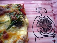 Pizza de pimientos asados y setas (Mushrooms & roasted red peppers pizza)