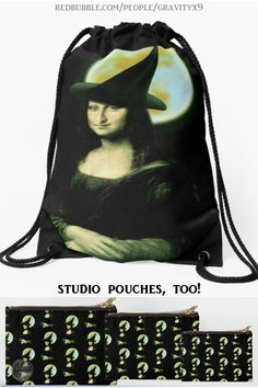 * Halloween Mona Lisa Witch Drawstring Bag by #Gravityx9 at Redbubble #SpoofingTheArts * Great for Halloween Trick-or-Treating, traveling and day trips. * This design is available on tee shirts, skirts, leggings and more fashion for men, too! * Halloween Cinch Bag * Halloween trick or treat bag * carry all bag * Halloween bag * #monalisa #halloweenbags #halloween #halloweenbag #trickortreat #totebags #backpack #carryall 0920 Halloween Bags, Halloween Goodies, Halloween Trick Or Treat, Back To School Backpacks, Cinch Bag, Trick Or Treat Bags, Carry All Bag, Funny Art, Day Trips
