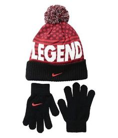 63e652bb749 Hats 57884  Boys Youth Size 8 20 Nike Red Black Knit Winter Beanie Pom Pom