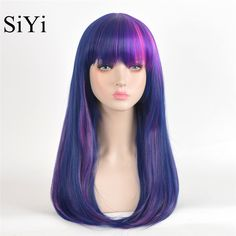 My Little Pony Twilight Sparkle Long Straight Ombre Purple Pink Synthetic Cheap Wigs For Black Women Pelucas Natural+Wig Cap
