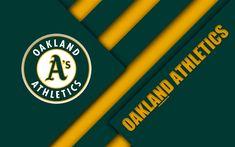 Download wallpapers Oakland Athletics, MLB, 4k, green yellow abstraction, logo, material design, American baseball club, Auckland, California, USA, Major League Baseball, American League