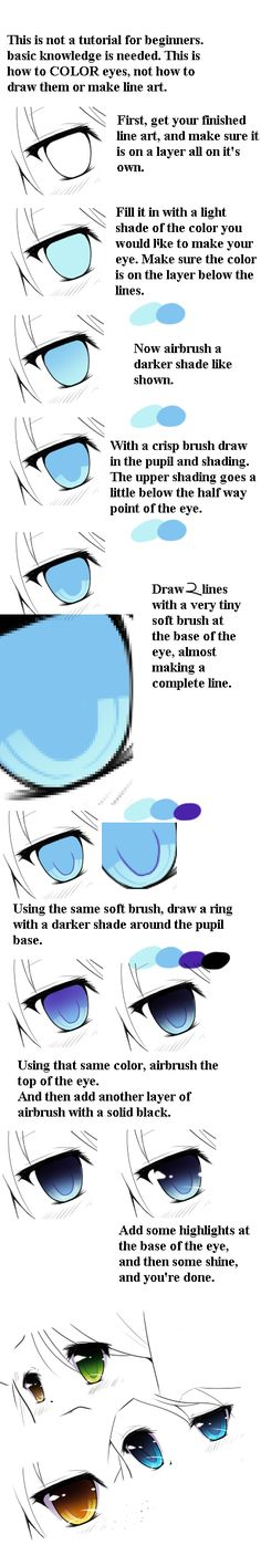 Anime Drawing Tutorial Anime Eye Coloring Tutorial by EatDicks on DeviantArt More - Drawing Reference Poses, Drawing Skills, Drawing Tips, Drawing Sketches, Drawings, Eye Drawing Tutorials, Digital Painting Tutorials, Digital Art Tutorial, Art Tutorials