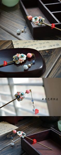Classical hair hairpin handmade tassels decorated Chaitou Han Chinese clothing costume cos Accessories - Taobao
