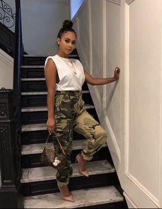 Casual Summer Outfits, Fall Winter Outfits, Chic Outfits, Spring Outfits, Trendy Outfits, Casual Attire, Army Pants Outfit, Overalls Outfit, Camo Fashion
