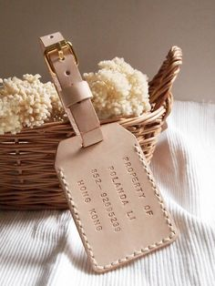 Double Sided Luggage Tag - Nude - Personalized - Leather - Hand Stitched