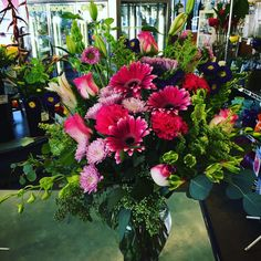 #Beautiful #garden #style #arrangement ! #LOVE THIS LOOK! Lovely #roses #gerberas #orchids #poms #aster #alstroemeria #bellsofireland  Such a #pretty combination, hoping everyone enjoys!