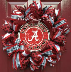 Alambama Wreath - Alabama Deco Mesh Wreath - University of Alabama Wreath - Roll Tide Wreath - Crimson Tide by MsSassyCrafts on Etsy https://www.etsy.com/listing/237292181/alambama-wreath-alabama-deco-mesh-wreath