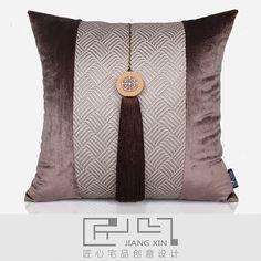 匠心宅品 新中式高档样板房抱枕靠包天然木大吊穗丝绒方枕{不含芯