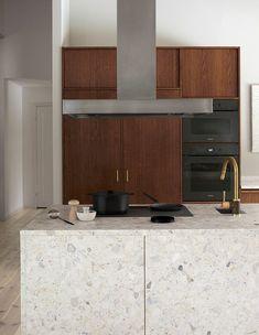 Modern Kitchen Interior idea to steal: understated terrazzo on apartment 34 Home Decor Kitchen, Rustic Kitchen, New Kitchen, Home Kitchens, Wooden Kitchens, Kitchen Island, Boho Kitchen, Kitchen Furniture, Wood Furniture