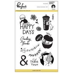 "Pinkfresh Studio Clear Stamp Set 4""x6"" - Happy Days"