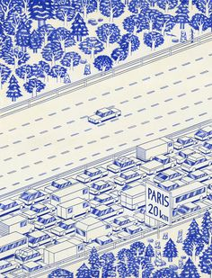 Series of blue ballpoint pen drawings (biro art) by French artist Kevin Lucbert. Titled Blue Lines, the drawings portrays houses, suburban streets, doorways, mountains and forests with a bit mystical surrealism.