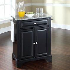 Superior Crosley LaFayette Solid Granite Top Portable Kitchen Island In Black    KF30023BBK
