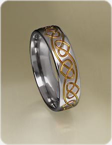 Celtic Heart Titanium Ring - for him, anodized with purple!