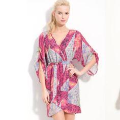Presley Skye Silk Kimono sleeve faux wrap dress. Worn once. Presley Skye Dresses Mini