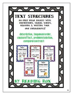 This no-prep activity reviews the five common text structures that authors use, the signal words and definitions and then gives students a chance to write their own brief paragraphs demonstrating their knowledge.Scaffolded with sample paragraphs and signal words, this higher ordered thinking activity can be used independently, in small groups or with partners.