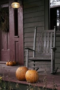 FALL*SPIRATION - Old Rocker on Porch with Pumpkins.