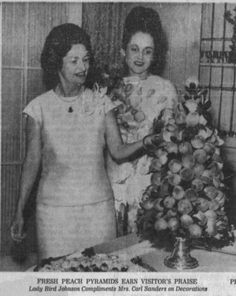 """Lady Bird Johnson with Georgia First Lady Betty Sanders in Executive Mansion Dining room during May 1964 visit (from article in """"The Atlanta Constitution""""). Prado, Constitution, American History, Georgia, Atlanta, Dining Room, Bird, Mansions, Manor Houses"""