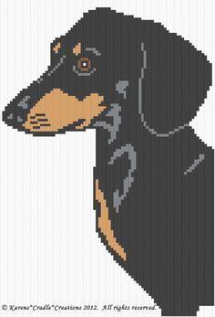 Crochet Patterns - DACHSHUND dog Graph Afghan Pattern Chart