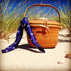 Anchor Pocket Square used as a purse accessory.