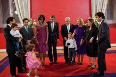 President Obama and First Lady Michelle Obama gather with President Sebastián Piñera of Chile, wife Cecilia Morel, and their family for a photograph during a dinner at La Moneda Palace in Santiago, Chile, March 21, 201