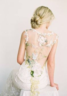 Papillon Couture Wedding Dress by Claire Pettibone Floral Wedding Gown, Colored Wedding Dresses, Wedding Dress Styles, Designer Wedding Dresses, Bridal Dresses, Wedding Gowns, Butterfly Wedding Dress, Elven Wedding Dress, 2017 Wedding