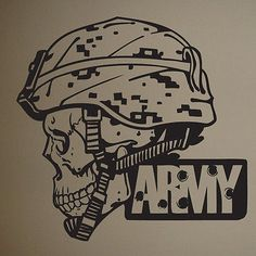 Creating an Army Bedroom Army Helmet, Skull Helmet, Helmet Tattoo, Army Bedroom, Kids Bedroom, Us Army Logo, Camo Rooms, Army Decor, Military Gifts