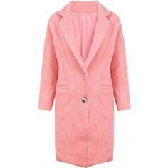 Pink Half Sleeve Lapel Longline Wool-blend Coat