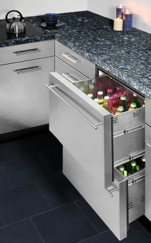 Summit SP6DS2D7ADA 24 Inch Double Drawer Refrigerator with 3.1 cu. ft. Capacity, Spring Assisted Roller Drawers, Automatic Defrost, Adjustable Thermostat, ADA Compliant and Commercially Approved