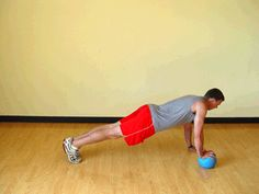 Today's Exercise: Staggered Pushups on Medicine Ball