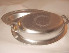 Final Markdown!! Sale!!!! Vintage Art Deco Kensington Ware, Aluminum Covered Serving Bowl, Laurel Leaf Design