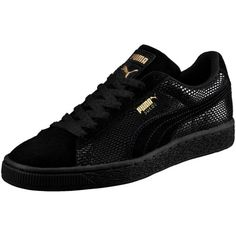 Puma Suede Gold Women's Sneakers ($75) ❤ liked on Polyvore featuring shoes, sneakers, puma black, suede sneakers, grip trainer, puma trainers, gold shoes and sports trainer