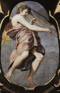 Angel Musician   1615—Reggio Emilia, Italy: Lionello Spada's fresco in the cupola of the Chiesa della Ghiara includes depictions of numerous angel-musicians, including an angel playing trombone