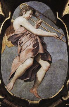 Angel Musician   1615—Reggio Emilia, Italy: Lionello Spada's fresco in the cupola of the Chiesa della Ghiara includes depictions of numerous angel-musicians, including an angel playing trombone