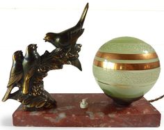 Exceptional Art DECO french table LAMP with birds - Signed Maurice Frécourt