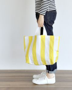 Yellow Striped Grocery Bag from Nakagawa Masashichi Shoten