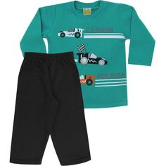 Conjunto Infantil para Menino de Moleton Carro Verde - Jaca-Lelé :: 764 Kids | Roupa bebê e infantil