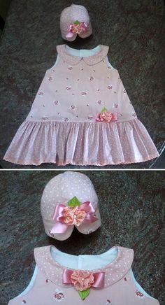 Floral rosa e chapéu  Pink foral and bonet    Variação do modelo trapézio ( A line dress variation).