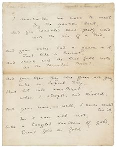 """Instagram'da The Morgan Library & Museum: """"And your eyes, they were green and gray, Like an #April day, But lit into amethyst When I stooped, and kissed.⠀⠀⠀⠀⠀⠀⠀⠀⠀ —Oscar…"""" Oscar Wilde, Writers And Poets, Book Writer, Vintage Lettering, Beyond Words, Penmanship, Letter Writing, Love Letters, Notes"""