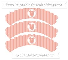 Free Pastel Coral Striped  Baby Onesie Scalloped Cupcake Wrappers