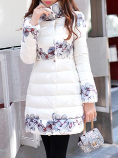 DABUWAWA White Floral Pockets Turtleneck Long Sleeve Down Coat - AdoreWe.com