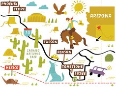 I Draw Maps: Illustrated Map of Arizona for AAA Magazine by Nat...