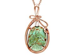 Tehya Oyama Turquoise (Tm)Green Kingman Turquoise And .12ctw White Topaz Copper Pendant With Chain