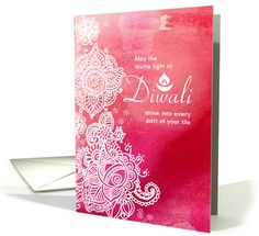 Mehndi Watercolor #Diwali card - Pretty #WhiteHenna effect on pink watercolor background!