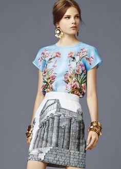 f4fae59ae37c Dolce  amp  Gabbana Spring 2014 Floral Print Skirt