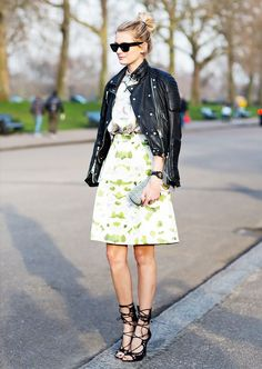 Play with proportions and textures by pairing these skirt options with a leather jacket